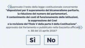 Ballot Form for Italy's Reform Referendum